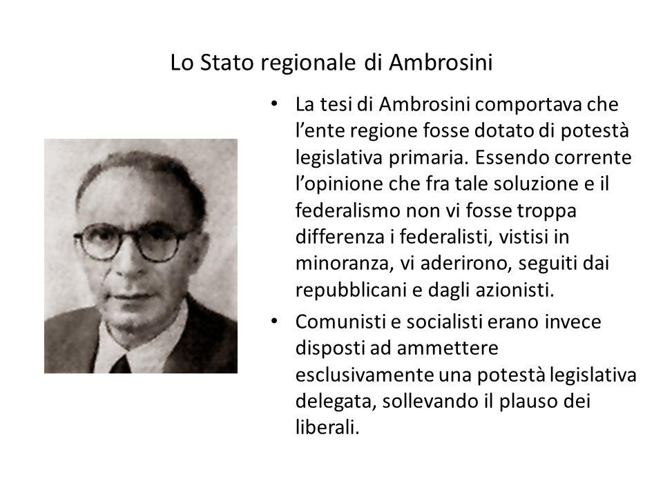 Lo Stato regionale di Ambrosini La tesi di Ambrosini comportava che l'ente regione fosse dotato di potestà legislativa primaria. Essendo corrente l'op