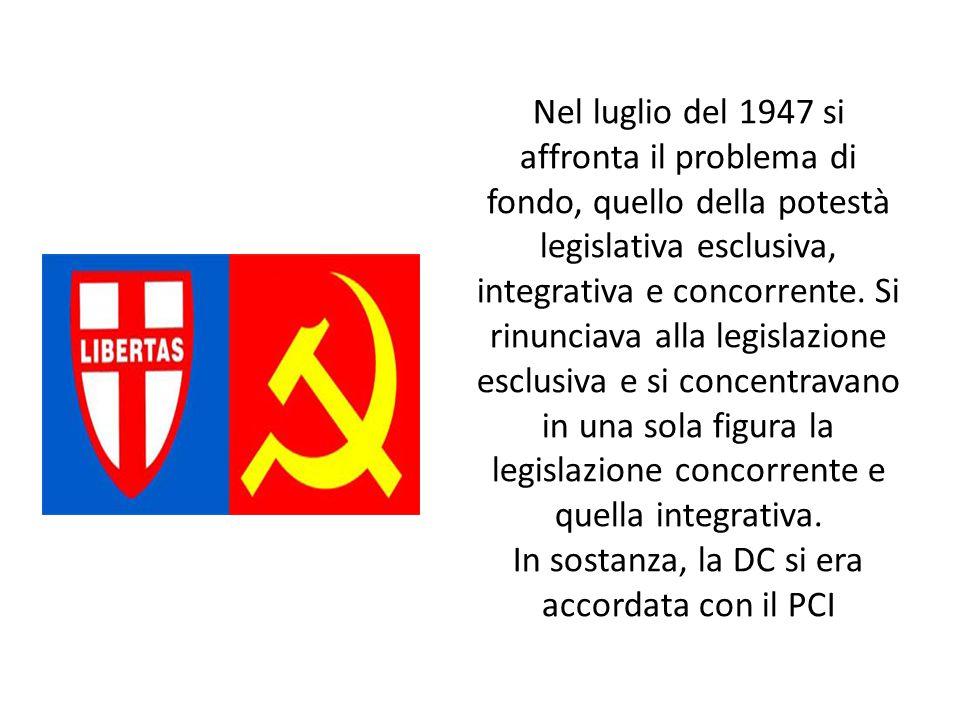 Nel luglio del 1947 si affronta il problema di fondo, quello della potestà legislativa esclusiva, integrativa e concorrente. Si rinunciava alla legisl