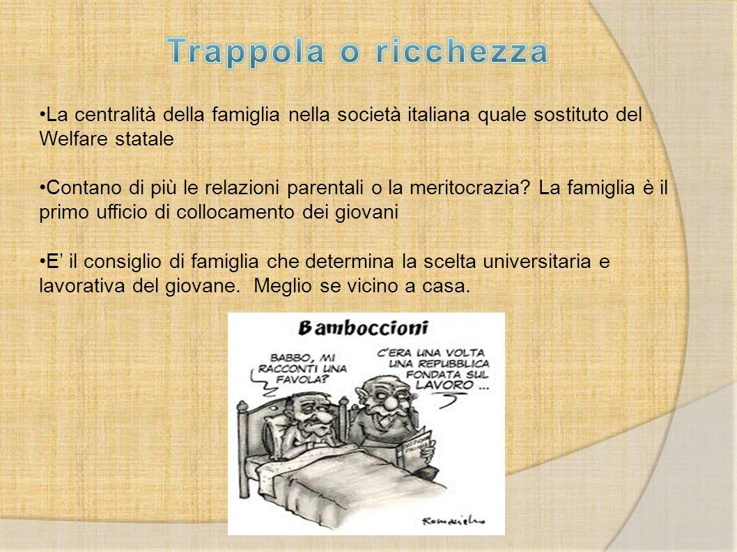 La centralità della famiglia nella società italiana quale sostituto del Welfare statale Contano di più le relazioni parentali o la meritocrazia? La fa