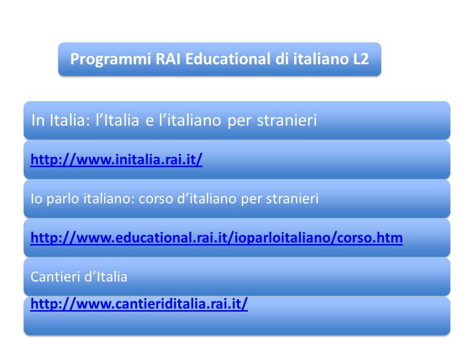 In Italia: l'Italia e l'italiano per stranieri http://www.initalia.rai.it/Io parlo italiano: corso d'italiano per stranierihttp://www.educational.rai.