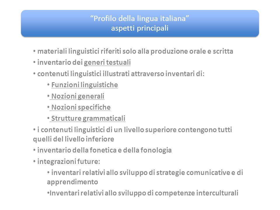 """""""Profilo della lingua italiana"""" aspetti principali materiali linguistici riferiti solo alla produzione orale e scritta inventario dei generi testuali"""