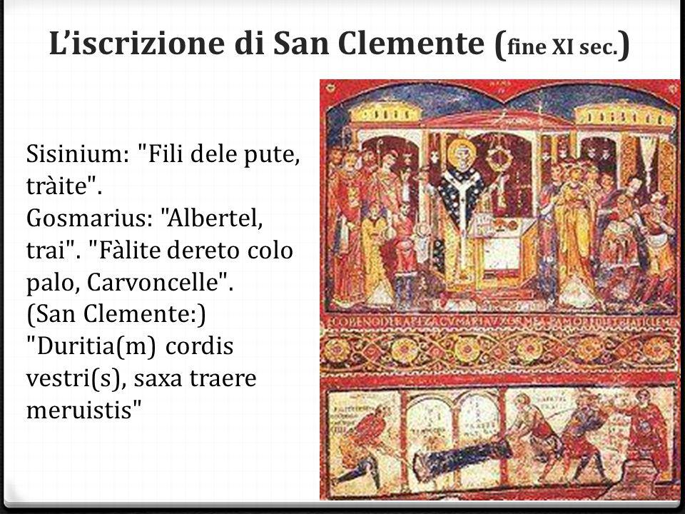 L'iscrizione di San Clemente ( fine XI sec. ) Sisinium: