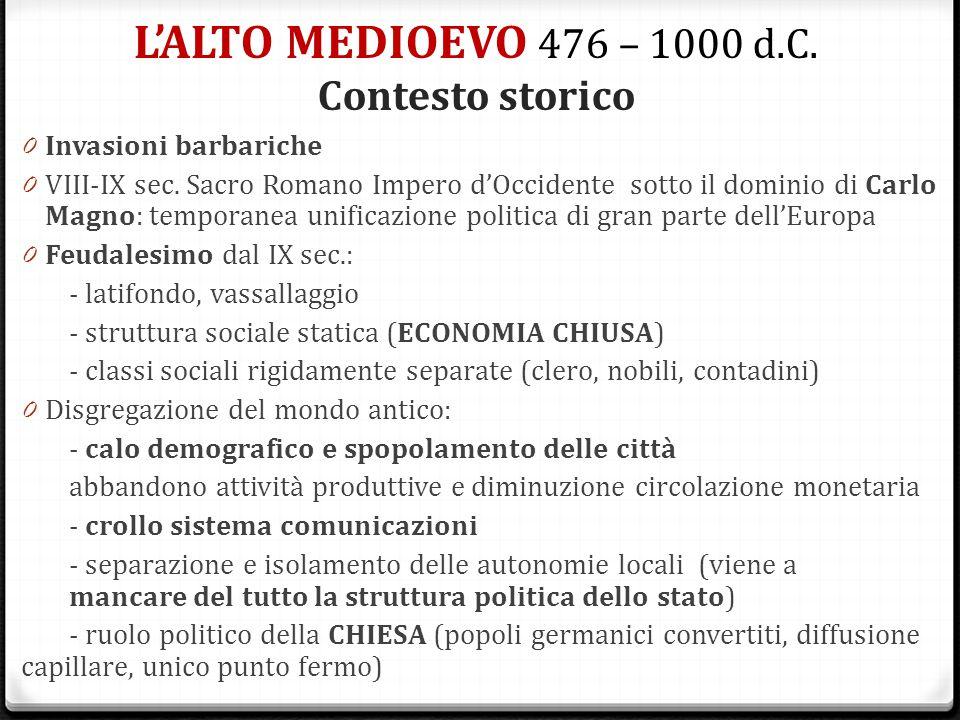 L'ALTO MEDIOEVO 476 – 1000 d.C. Contesto storico 0 Invasioni barbariche 0 VIII-IX sec. Sacro Romano Impero d'Occidente sotto il dominio di Carlo Magno