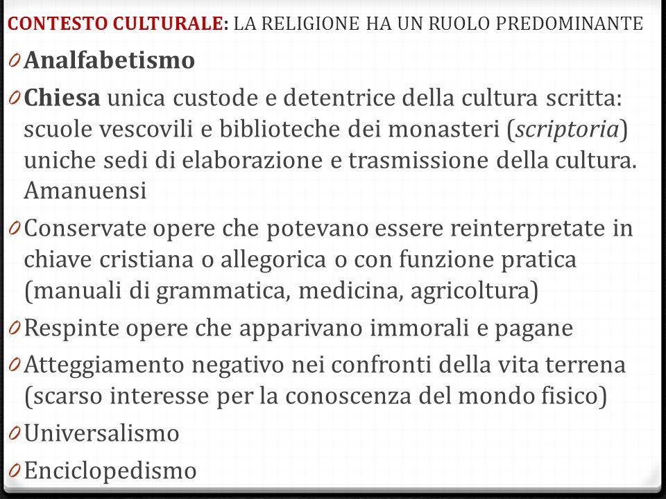 CONTESTO CULTURALE: LA RELIGIONE HA UN RUOLO PREDOMINANTE 0 Analfabetismo 0 Chiesa unica custode e detentrice della cultura scritta: scuole vescovili