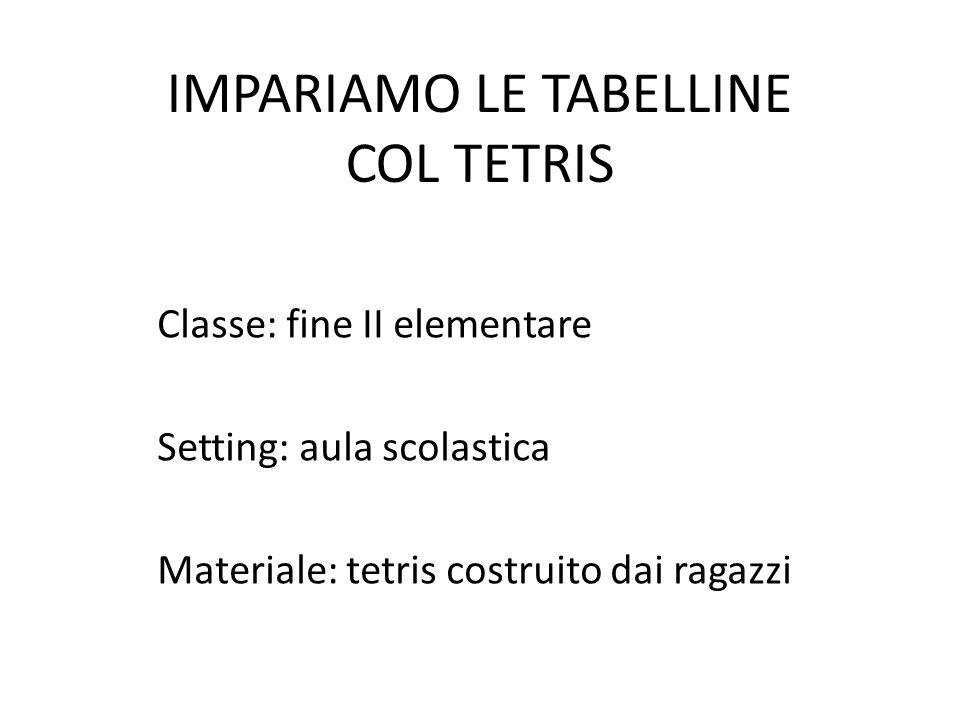 IMPARIAMO LE TABELLINE COL TETRIS Classe: fine II elementare Setting: aula scolastica Materiale: tetris costruito dai ragazzi