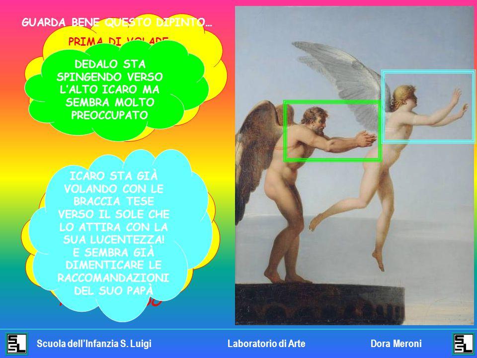 Scuola dell'Infanzia S. LuigiLaboratorio di ArteDora Meroni ANCHE IN QUESTO QUADRO SI VEDE DEDALO CHE LEGA LE ALI SULLE SPALLE DI ICARO. ANCHE LE ESPR