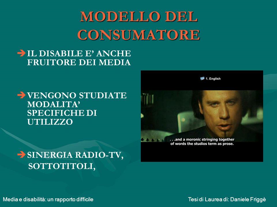 MODELLO DEL CONSUMATORE   IL DISABILE E' ANCHE FRUITORE DEI MEDIA   VENGONO STUDIATE MODALITA' SPECIFICHE DI UTILIZZO   SINERGIA RADIO-TV, SOTTO