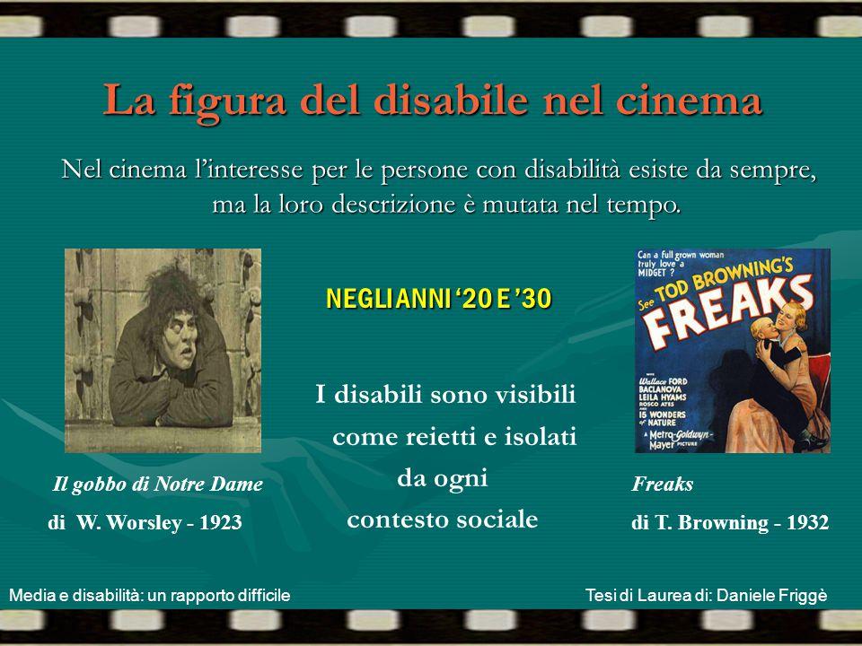 La figura del disabile nel cinema NEGLI ANNI '20 E '30 I disabili sono visibili come reietti e isolati da ogni contesto sociale Nel cinema l'interesse