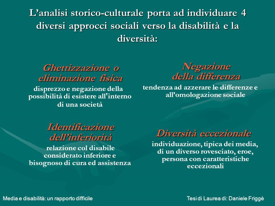 L'analisi storico-culturale porta ad individuare 4 diversi approcci sociali verso la disabilità e la diversità: Ghettizzazione o eliminazione fisica G