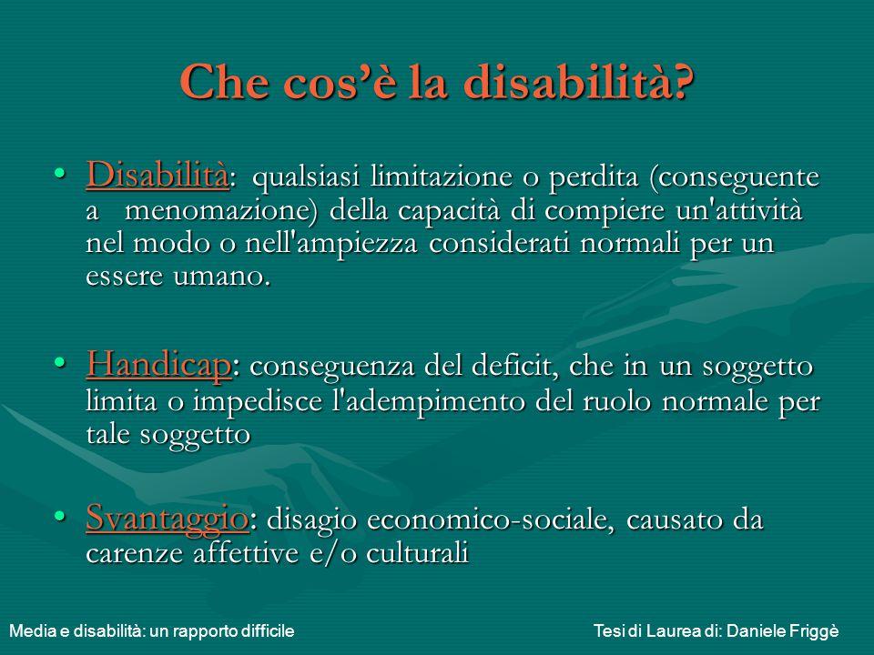Che cos'è la disabilità? Disabilità : qualsiasi limitazione o perdita (conseguente a menomazione) della capacità di compiere un'attività nel modo o ne