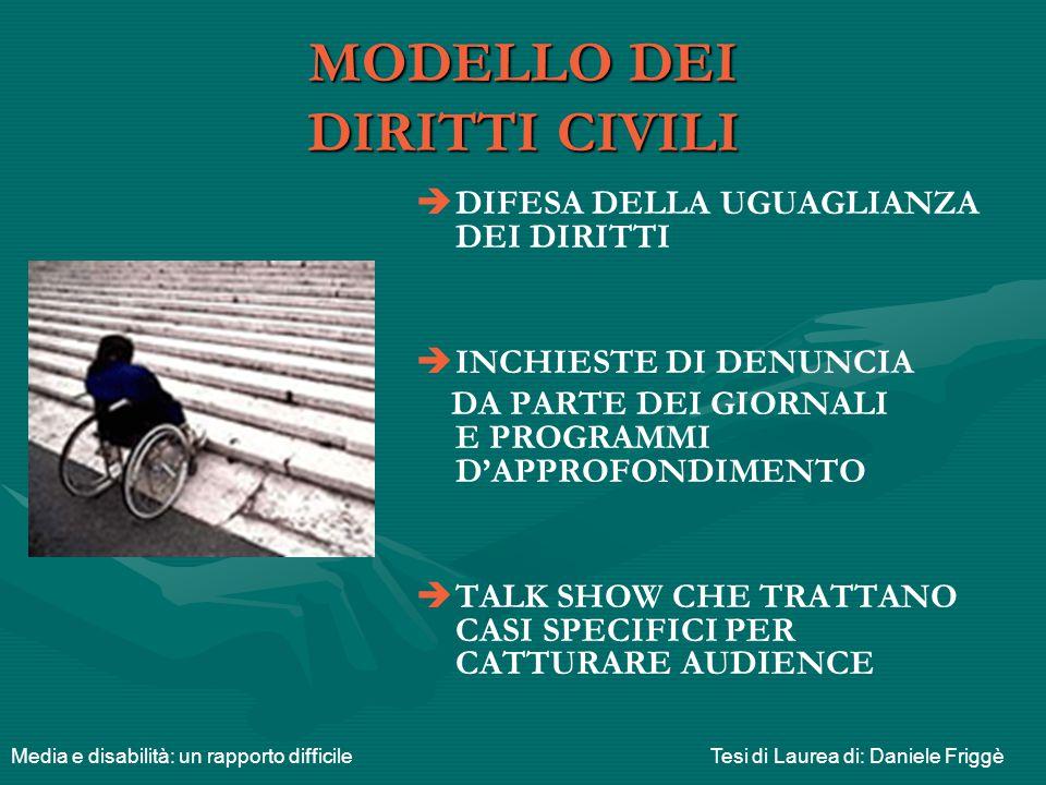 MODELLO DEL PLURALISMO CULTURALE   IL DISABILE POSSIEDE POTENZIALITA' E DEVE POTER COMUNICARE   PROMOZIONE DI UNA PARTECIPAZIONE SOCIALE ATTIVA, RIVOLTA AI PORTATORI DI HANDICAP E AI SERVIZI PUBBLICI   SFIDA DEI MEDIA CONTRO GLI STEREOTIPI Media e disabilità: un rapporto difficileTesi di Laurea di: Daniele Friggè