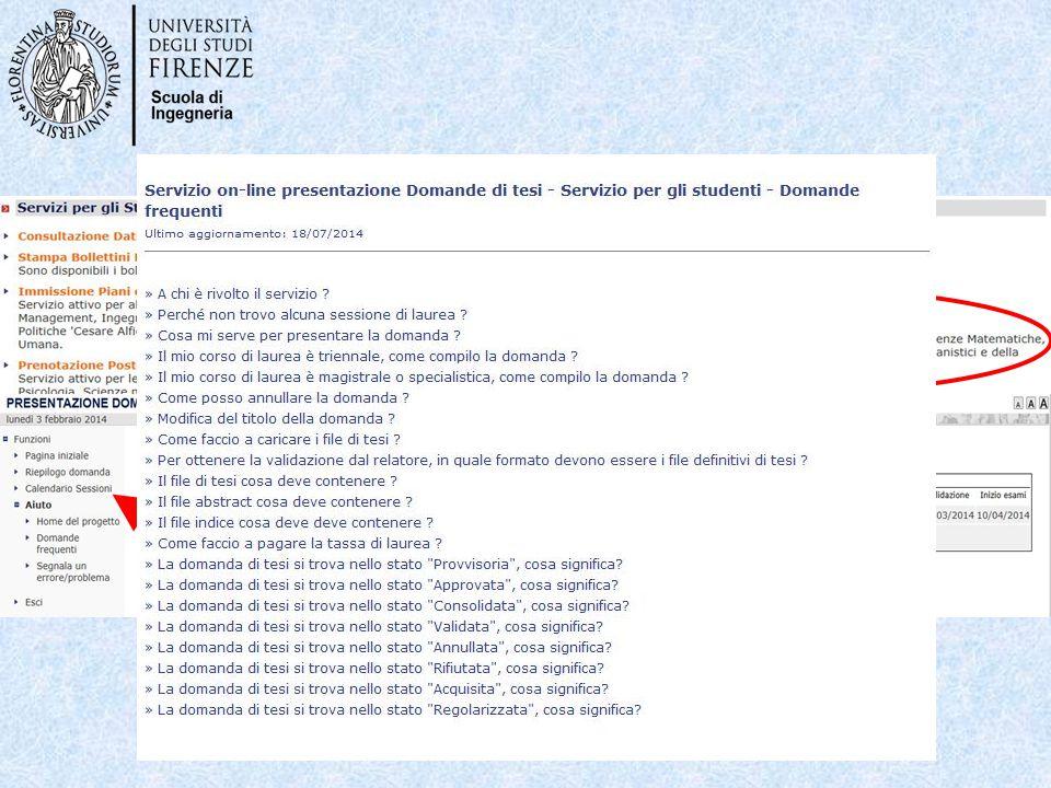Nella pagina Servizi on-line dell'ateneo: http://sol.unifi.it/ si possono trovare informazioni più approfondite nell'apposita FAQ: Per i relatori nell