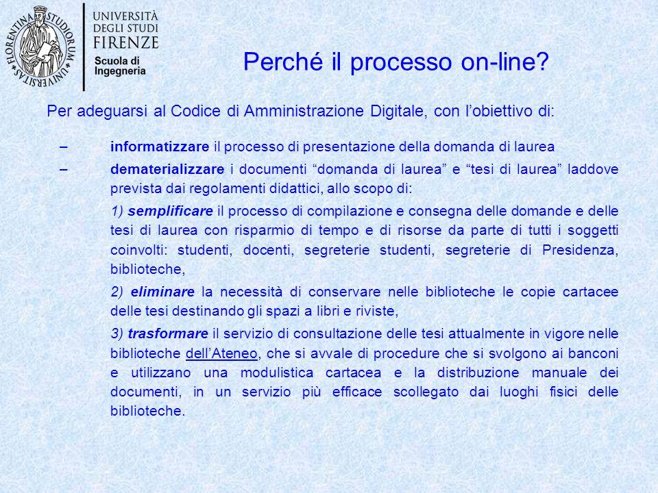 Perché il processo on-line? Per adeguarsi al Codice di Amministrazione Digitale, con l'obiettivo di: –informatizzare il processo di presentazione dell