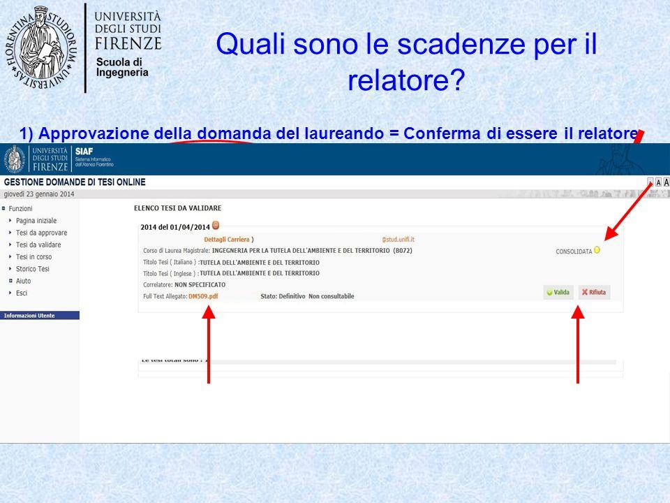 N.B. Ad ogni azione dello studente che comporta un coinvolgimento del relatore, al relatore verrà recapitata una notifica via e-mail. 2) Validazione d