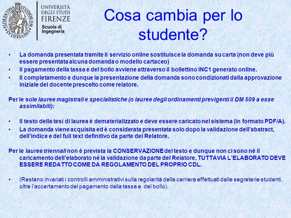 Cosa cambia per lo studente? La domanda presentata tramite il servizio online sostituisce la domanda su carta (non deve più essere presentata alcuna d