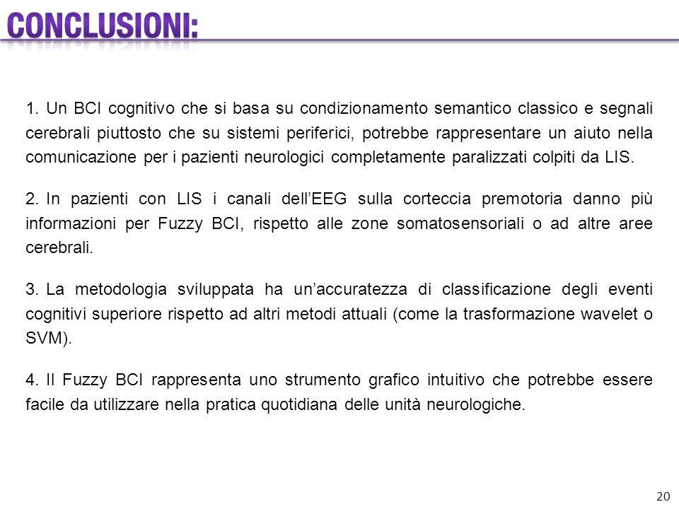 1.Un BCI cognitivo che si basa su condizionamento semantico classico e segnali cerebrali piuttosto che su sistemi periferici, potrebbe rappresentare u