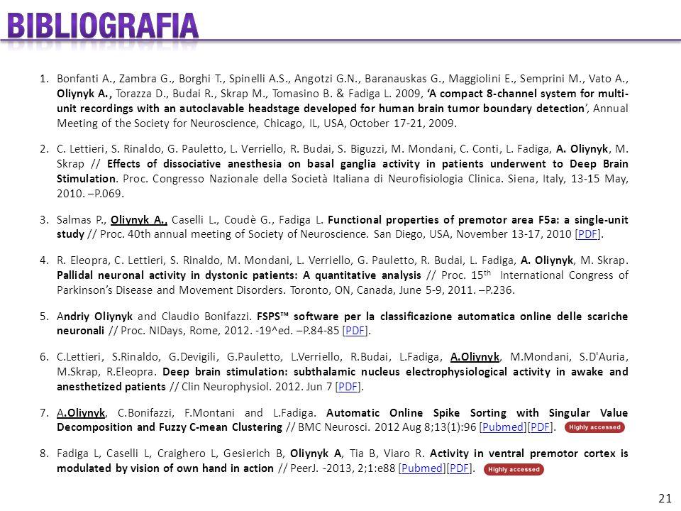 1.Bonfanti A., Zambra G., Borghi T., Spinelli A.S., Angotzi G.N., Baranauskas G., Maggiolini E., Semprini M., Vato A., Oliynyk A., Torazza D., Budai R., Skrap M., Tomasino B.