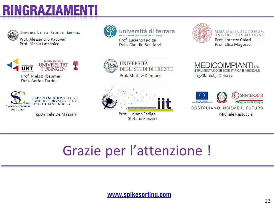 Grazie per l'attenzione ! www.spikesorting.com Prof. Alessandro Padovani Prof. Nicola Latronico Prof. Luciano Fadiga Dott. Claudio Bonifazzi Prof. Lor