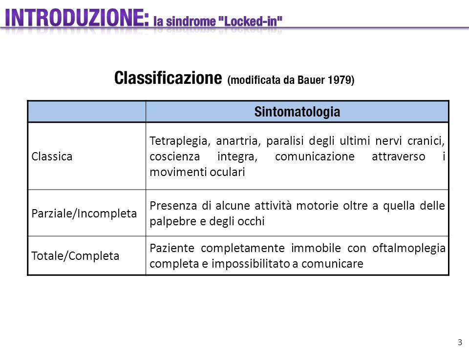 Sintomatologia Classica Tetraplegia, anartria, paralisi degli ultimi nervi cranici, coscienza integra, comunicazione attraverso i movimenti oculari Pa
