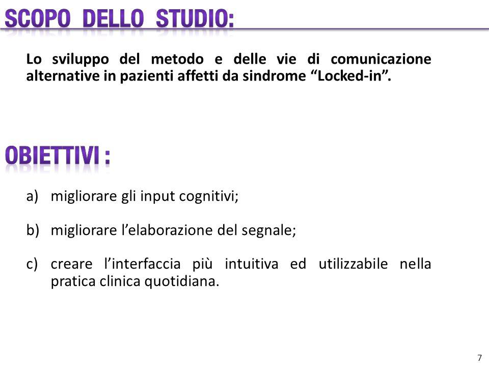 """Lo sviluppo del metodo e delle vie di comunicazione alternative in pazienti affetti da sindrome """"Locked-in"""". a)migliorare gli input cognitivi; b)migli"""