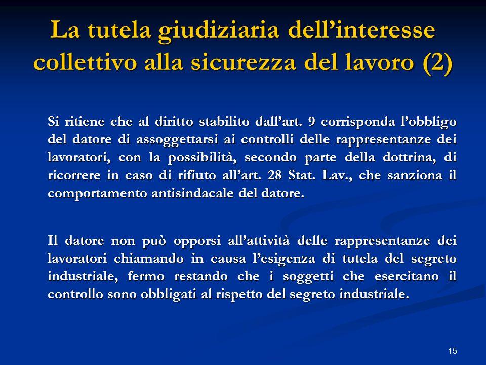 15 La tutela giudiziaria dell'interesse collettivo alla sicurezza del lavoro (2) Si ritiene che al diritto stabilito dall'art.