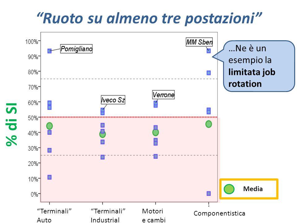 """""""Ruoto su almeno tre postazioni"""" …Ne è un esempio la limitata job rotation % di SI Motori e cambi Componentistica """"Terminali"""" Auto """"Terminali"""" Industr"""