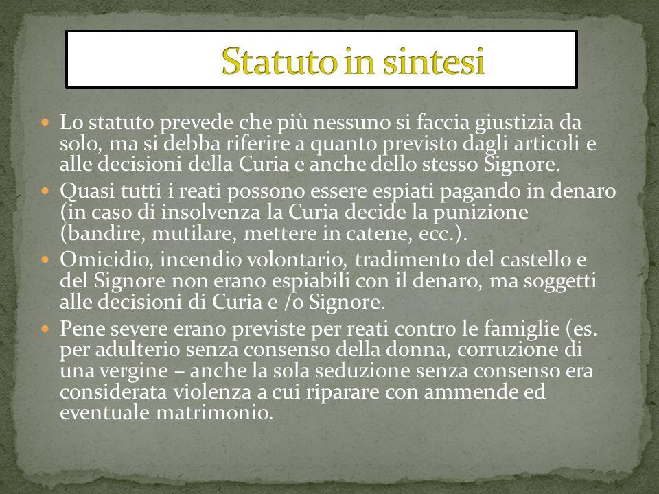 Lo statuto prevede che più nessuno si faccia giustizia da solo, ma si debba riferire a quanto previsto dagli articoli e alle decisioni della Curia e a