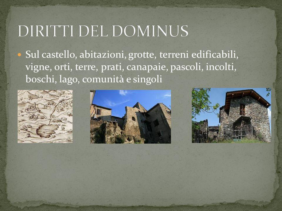 Sul castello, abitazioni, grotte, terreni edificabili, vigne, orti, terre, prati, canapaie, pascoli, incolti, boschi, lago, comunità e singoli