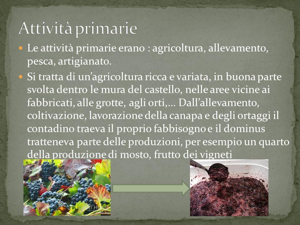 Le attività primarie erano : agricoltura, allevamento, pesca, artigianato. Si tratta di un'agricoltura ricca e variata, in buona parte svolta dentro l