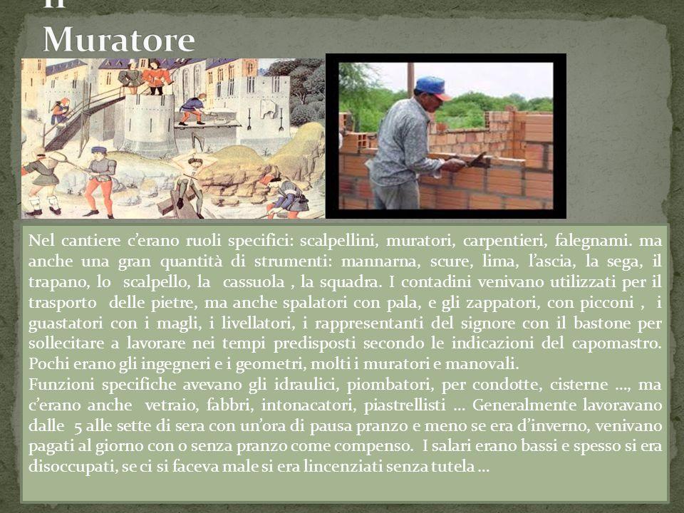 Nel cantiere c'erano ruoli specifici: scalpellini, muratori, carpentieri, falegnami. ma anche una gran quantità di strumenti: mannarna, scure, lima, l