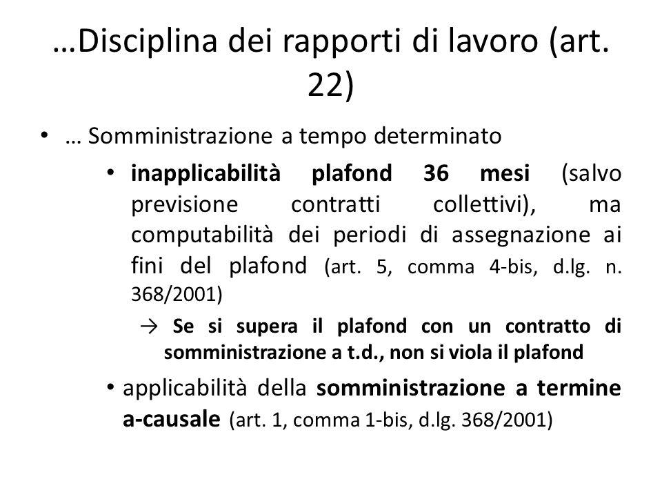 …Disciplina dei rapporti di lavoro (art.