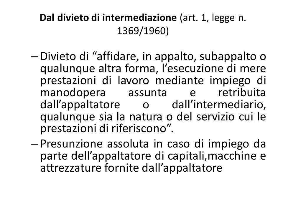 Dal divieto di intermediazione (art. 1, legge n.