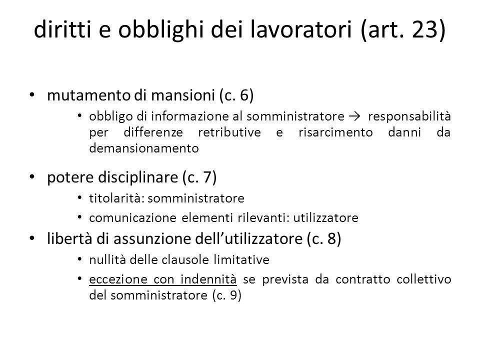 diritti e obblighi dei lavoratori (art. 23) mutamento di mansioni (c.