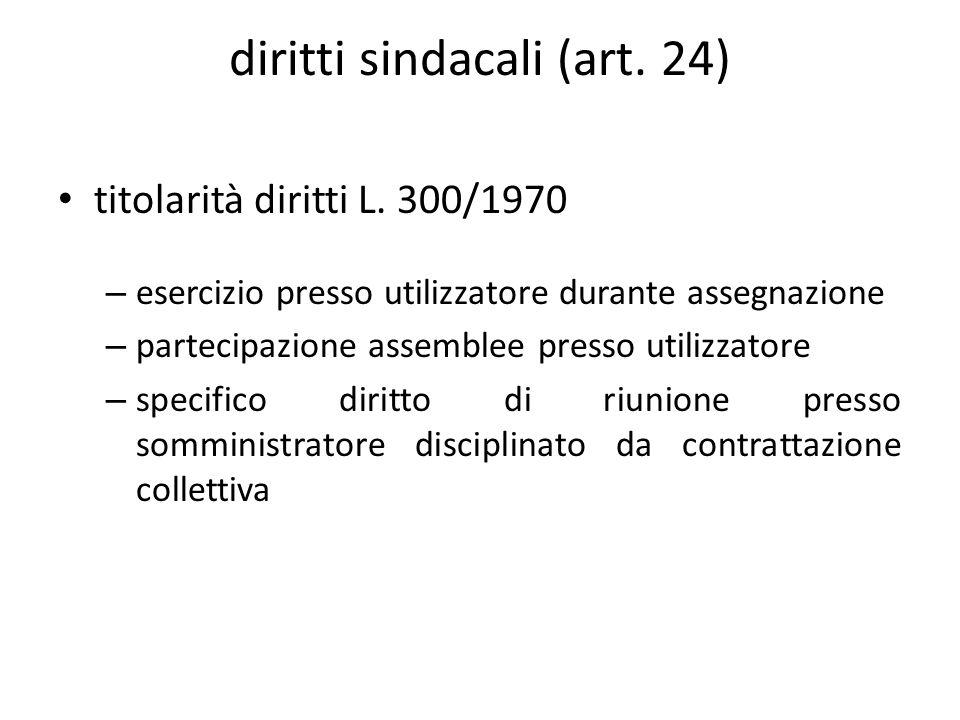 diritti sindacali (art. 24) titolarità diritti L.