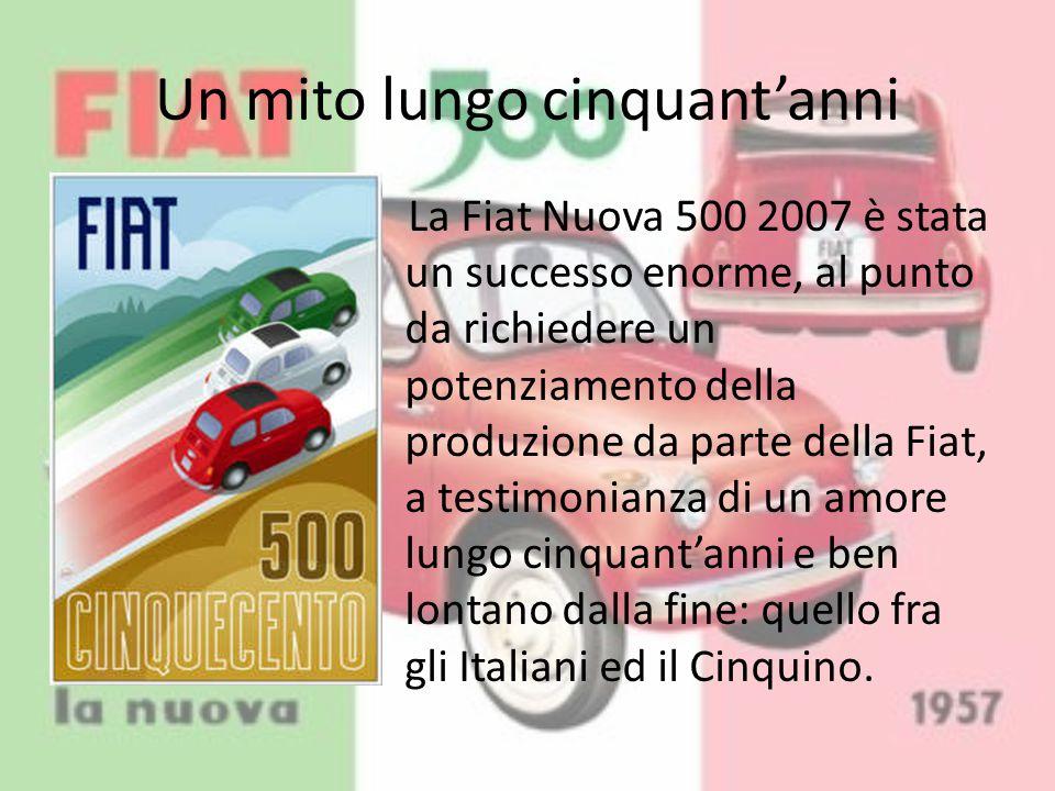 Un mito lungo cinquant'anni La Fiat Nuova 500 2007 è stata un successo enorme, al punto da richiedere un potenziamento della produzione da parte della