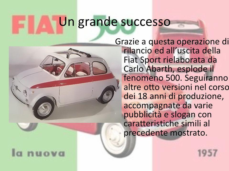 Un grande successo Grazie a questa operazione di rilancio ed all'uscita della Fiat Sport rielaborata da Carlo Abarth, esplode il fenomeno 500. Seguira