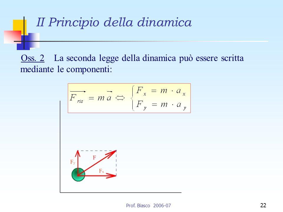 Prof.Biasco 2006-07 22 II Principio della dinamica Oss.