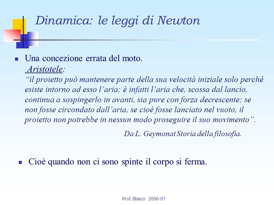 Prof.Biasco 2006-07 Una concezione errata del moto.