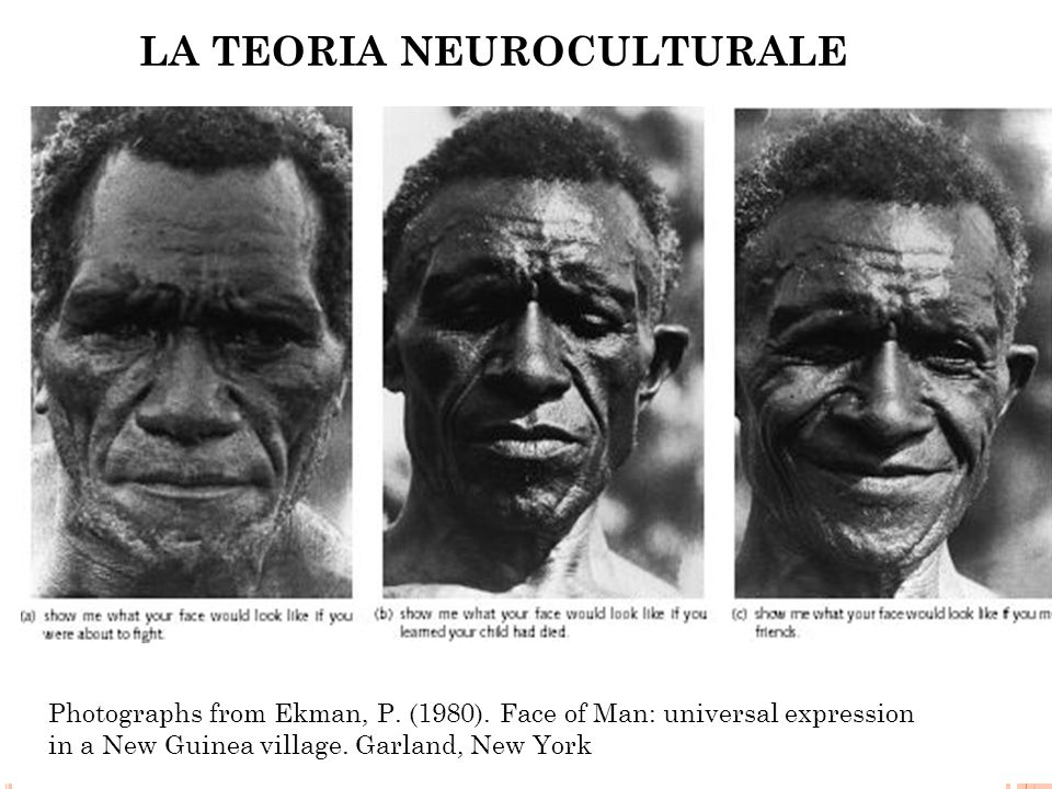 Photographs from Ekman, P. (1980). Face of Man: universal expression in a New Guinea village. Garland, New York LA TEORIA NEUROCULTURALE
