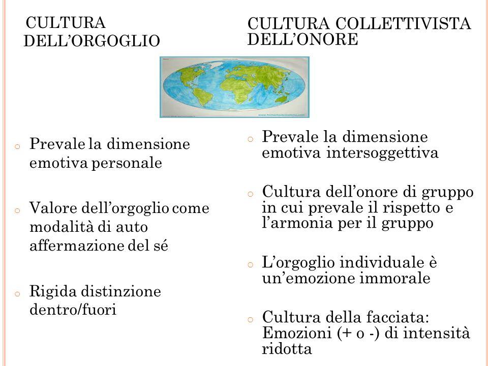 CULTURA DELL'ORGOGLIO o Prevale la dimensione emotiva personale o Valore dell'orgoglio come modalità di auto affermazione del sé o Rigida distinzione dentro/fuori CULTURA COLLETTIVISTA DELL'ONORE o Prevale la dimensione emotiva intersoggettiva o Cultura dell'onore di gruppo in cui prevale il rispetto e l'armonia per il gruppo o L'orgoglio individuale è un'emozione immorale o Cultura della facciata: Emozioni (+ o -) di intensità ridotta