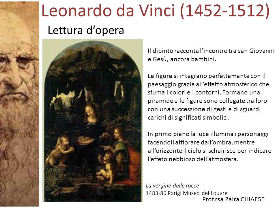 Prof.ssa Zaira CHIAESE La vergine delle rocce 1483-86 Parigi Museo del Louvre Il dipinto racconta l'incontro tra san Giovanni e Gesù, ancora bambini.