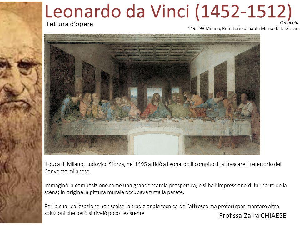 Prof.ssa Zaira CHIAESE Cenacolo 1495-98 Milano, Refettorio di Santa Maria delle Grazie Il duca di Milano, Ludovico Sforza, nel 1495 affidò a Leonardo