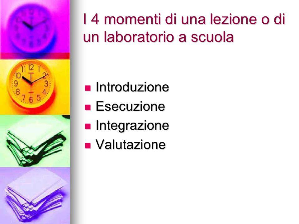 I 4 momenti di una lezione o di un laboratorio a scuola Introduzione Introduzione Esecuzione Esecuzione Integrazione Integrazione Valutazione Valutazi