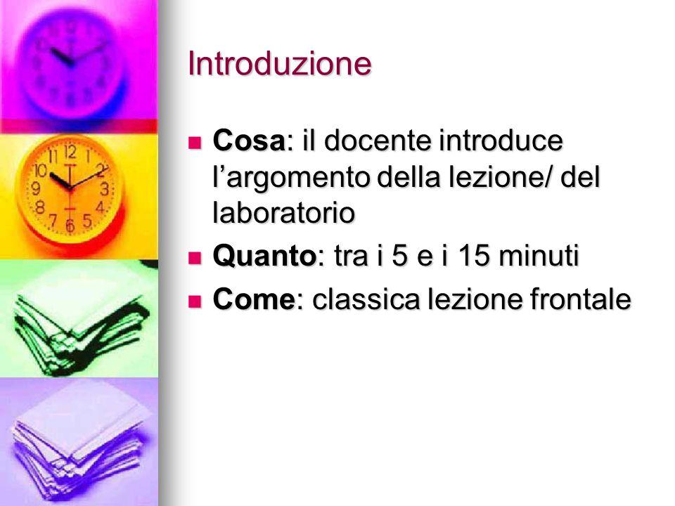 Introduzione Cosa: il docente introduce l'argomento della lezione/ del laboratorio Cosa: il docente introduce l'argomento della lezione/ del laborator