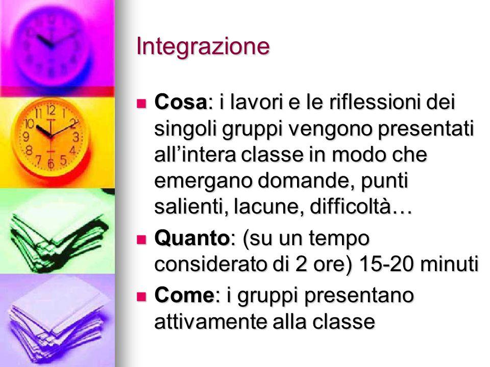 Integrazione Cosa: i lavori e le riflessioni dei singoli gruppi vengono presentati all'intera classe in modo che emergano domande, punti salienti, lac