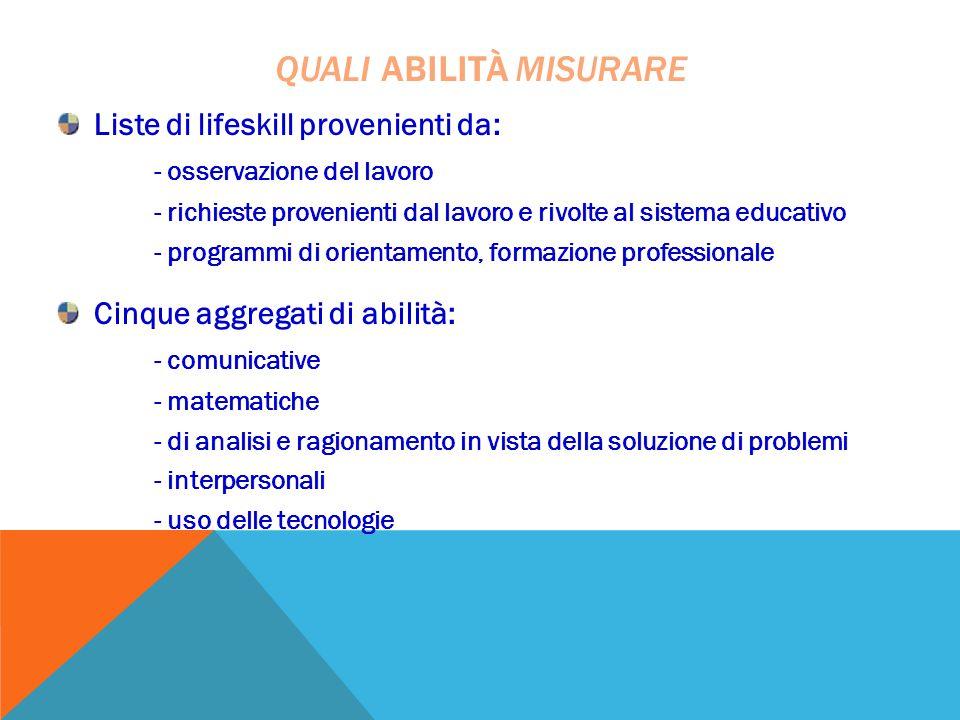 Liste di lifeskill provenienti da: - osservazione del lavoro - richieste provenienti dal lavoro e rivolte al sistema educativo - programmi di orientam
