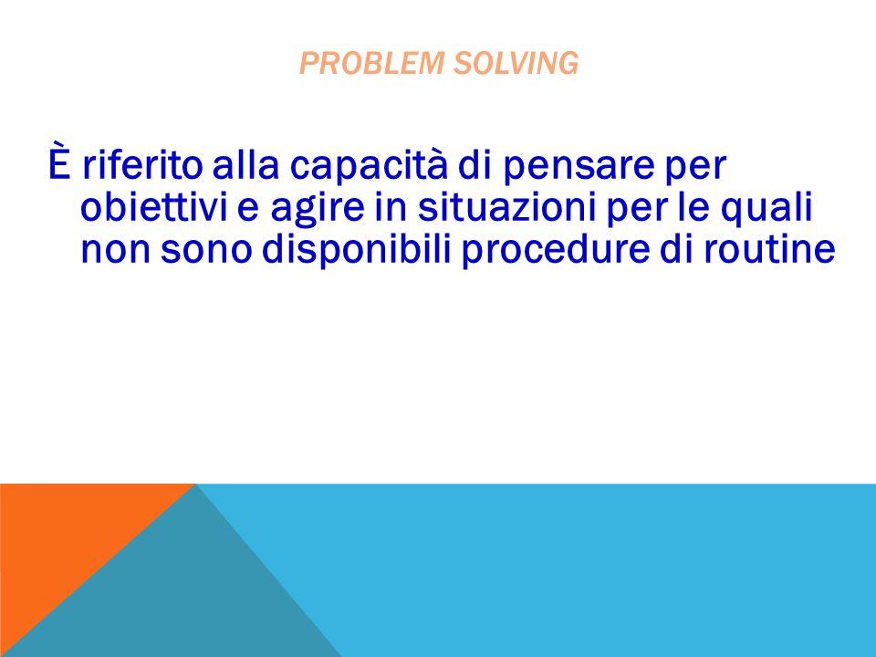 È riferito alla capacità di pensare per obiettivi e agire in situazioni per le quali non sono disponibili procedure di routine PROBLEM SOLVING