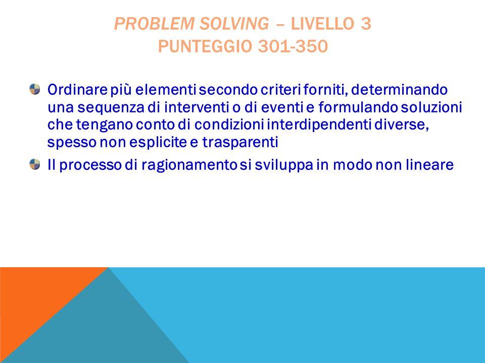 Ordinare più elementi secondo criteri forniti, determinando una sequenza di interventi o di eventi e formulando soluzioni che tengano conto di condizi
