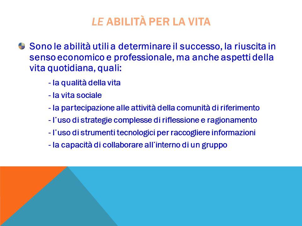 Sono le abilità utili a determinare il successo, la riuscita in senso economico e professionale, ma anche aspetti della vita quotidiana, quali: - la q