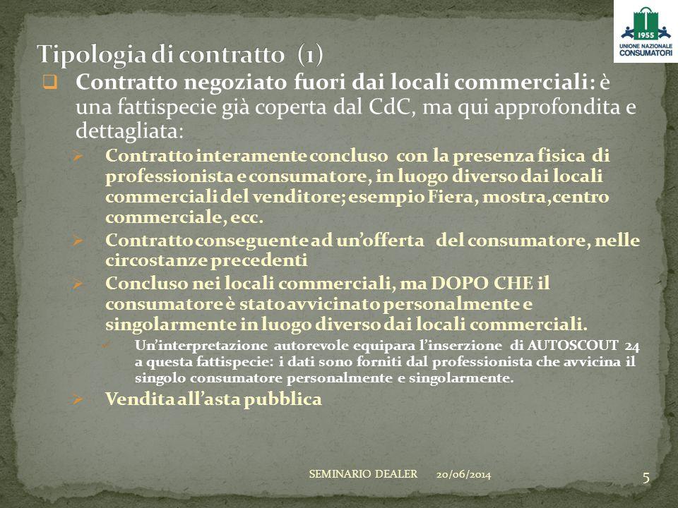  Contratto negoziato fuori dai locali commerciali: è una fattispecie già coperta dal CdC, ma qui approfondita e dettagliata:  Contratto interamente